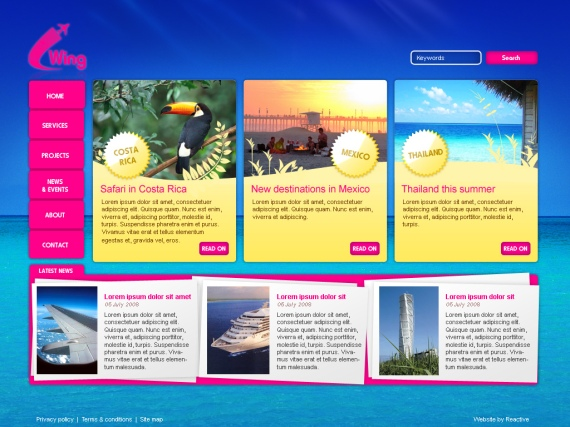 Web Page Design for Travel Website